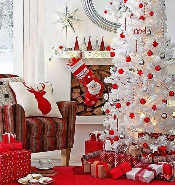 красно-белые идеи новогоднего декора