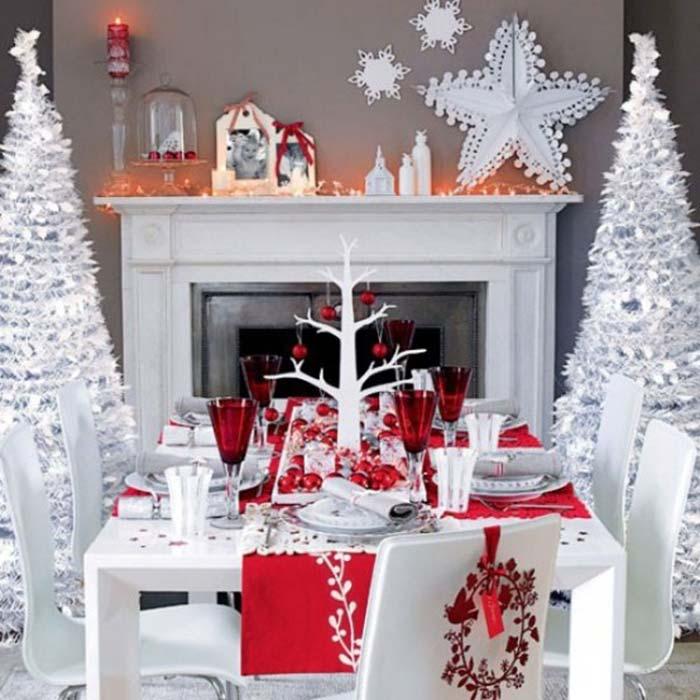 праздничная сервировка стола в красно-белой гамме