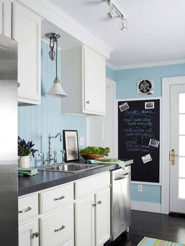 использование меловой доски в интерьере кухни