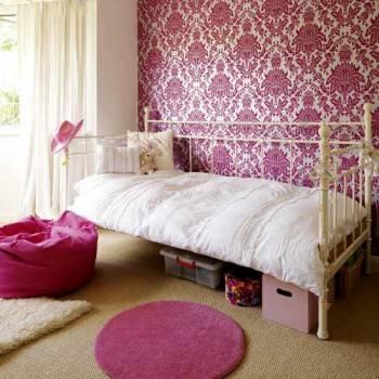 дамаск в интерьере детской комнаты