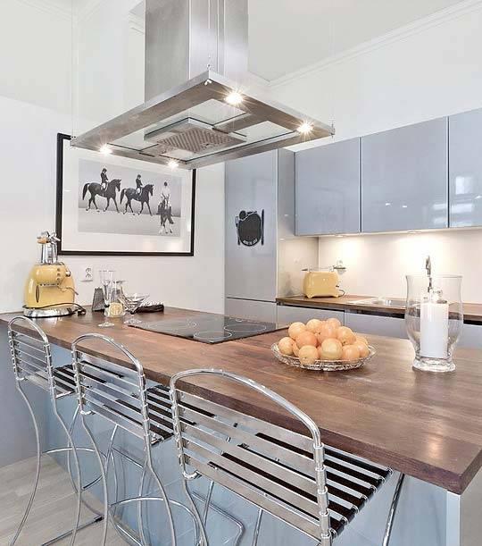 белоснежная кухня в норвежской квартире