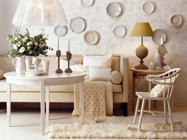 красивые декор интерьера настенными тарелками