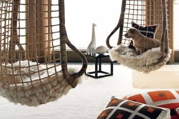 кресло подвесное деревянное