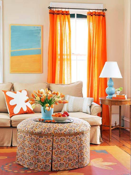 оранжевый в интерьере