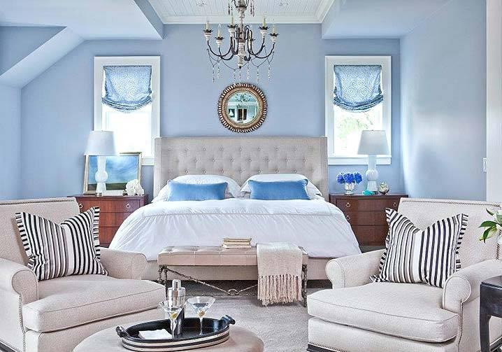 голубые спальни фото