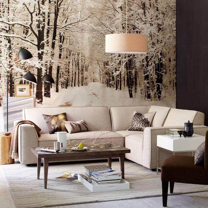 Зимние фотообои на стене: тепло и уют