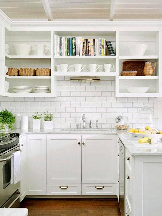 открытые полки, кухня