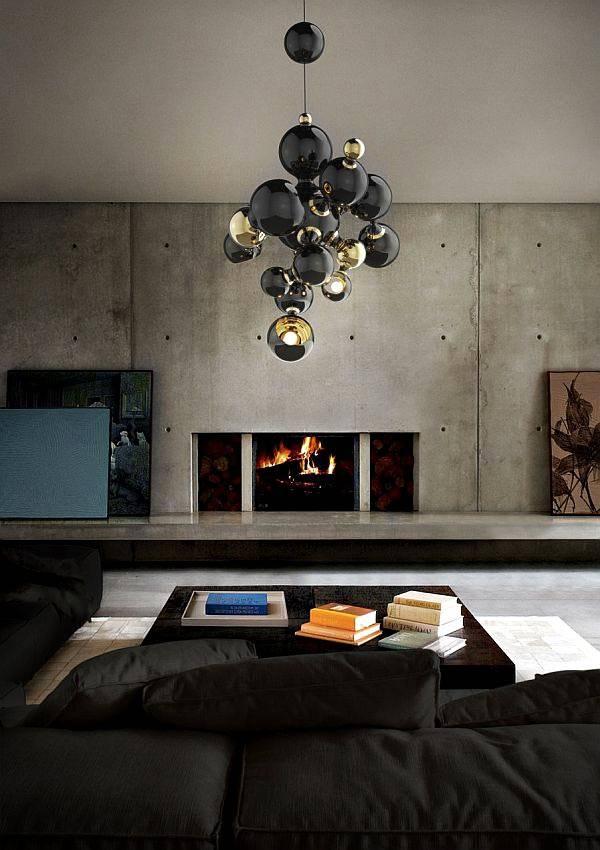 фото люстра с плафонами с черными шарами в гостиной