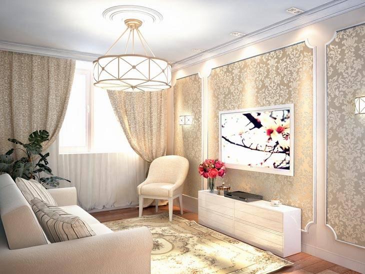 классический интерьер гостиной комнаты с белой люстрой