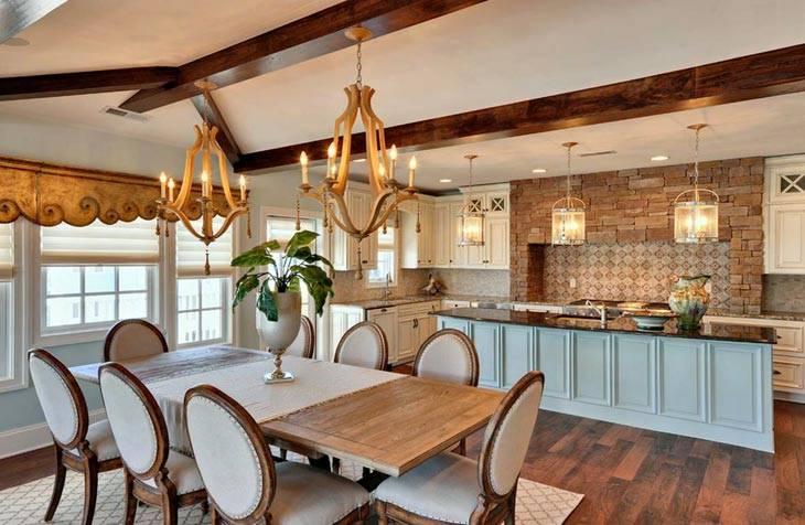 деревянные люстры в интерьере кухни
