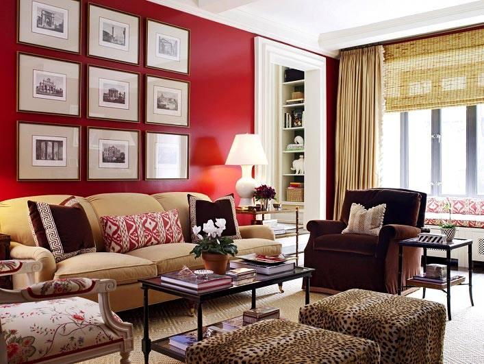 красный дизайн интерьера