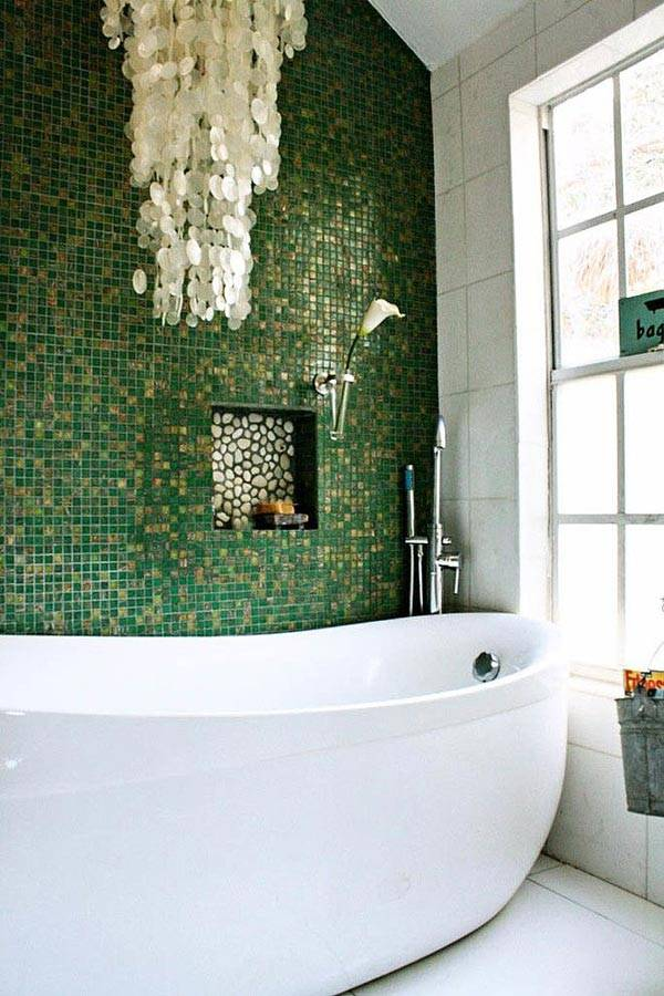 зеленый в дизайне интерьера ванной комнаты