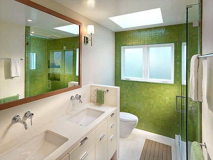 зеленый в интерьере ванной комнаты фото