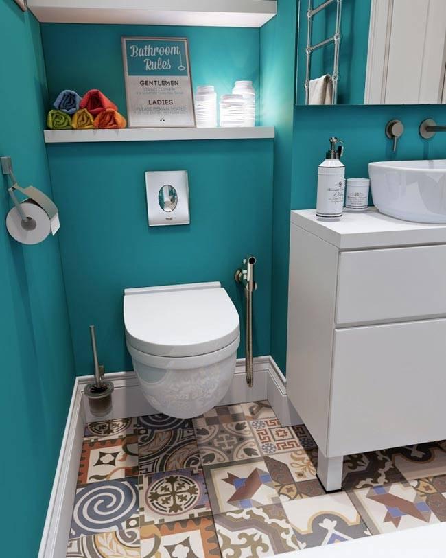 интерьер ванной комнаты бирюза