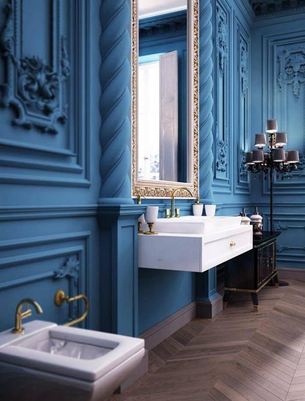 Красивый дизайн ванной комнаты в стиле барокко, фото