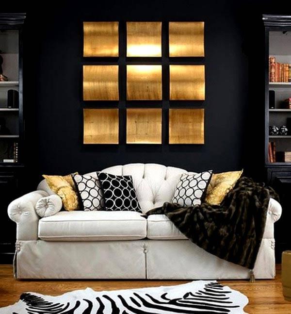 золотой и черный в дизайне интерьера