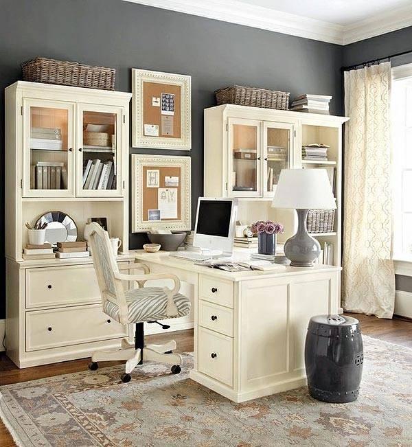 отдельный рабочий кабинет на дому с белой мебелью