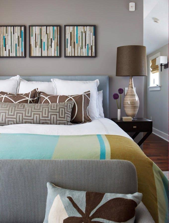 серый и коричневый в дизайне спальни загородного дома