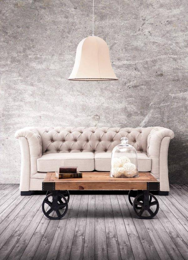 кофейный столик в интерьере как имитация телеги фото