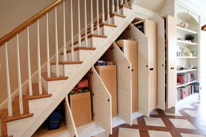 ящики и шкафы под лестницей фото