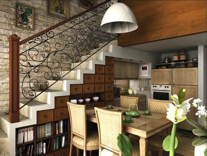 идеи хранения под лестницей фото