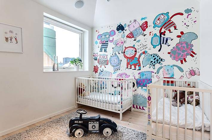 акцентная стена с рисунками фото