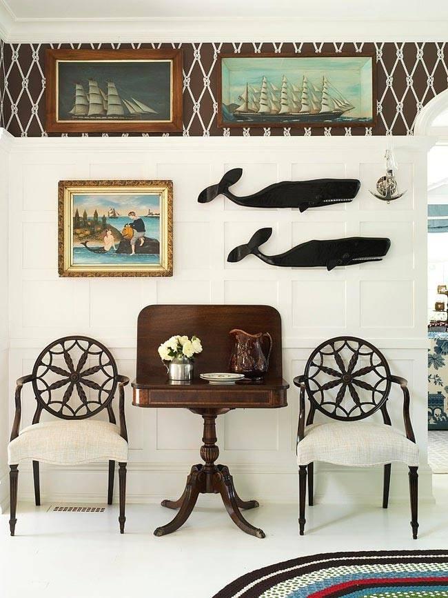 морские фигуры на стенах в дизайне интерьера дома