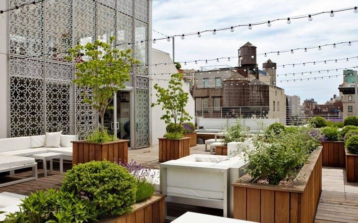 Красивые летние террасы на крыше дома фото