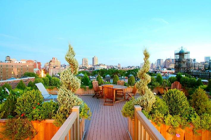 мини-сад на открытой террасе на крыше дома