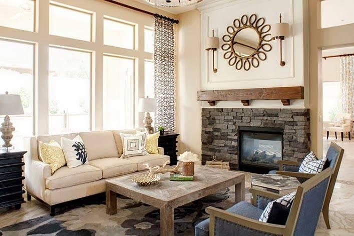 Сдержанные тона в дизайне интерьера каминной комнаты фото
