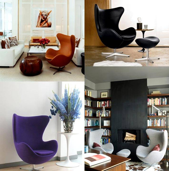 Изысканные формы кресла Egg Chair для стильных интерьеров