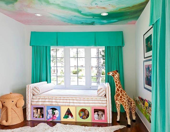 зеленый дизайн комнаты