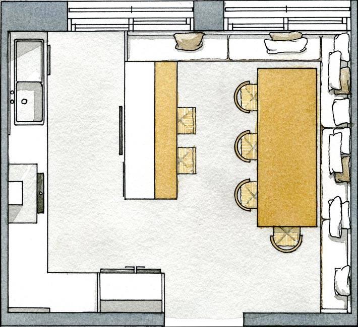 план интерьера кухни с разделяющей барной стойкой