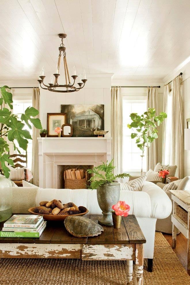 Красивая гостиная комната с комнатными растениями в доме