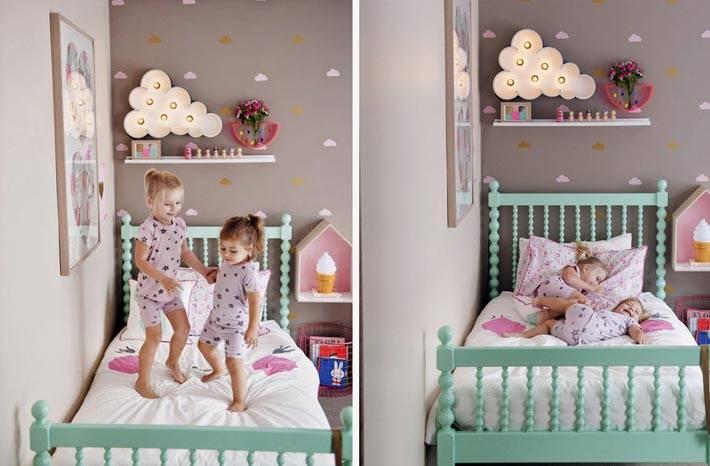 детская кроватка мятного цвета для маленькой девочки
