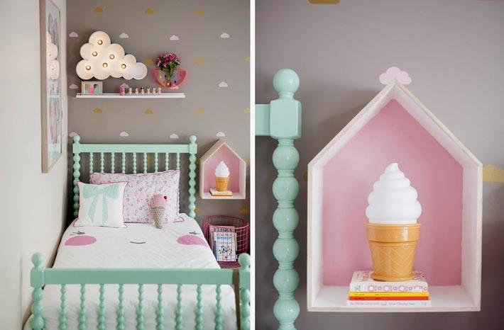 винтажная детская комната с милой детской мебелью пастельных тонов