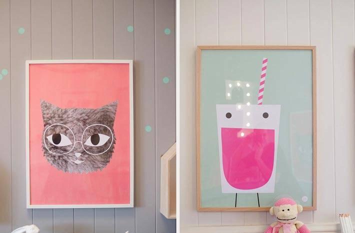 красивые постеры с нарисованными зверятами для детских комнат