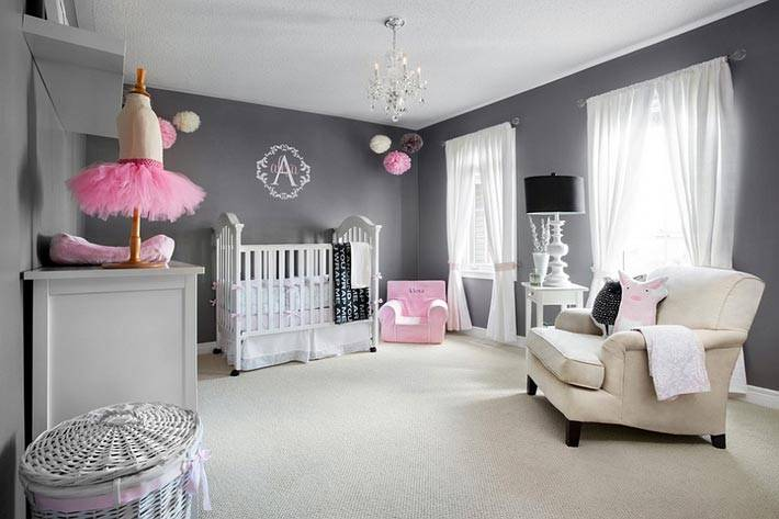интерьер детской комнаты серого цвета