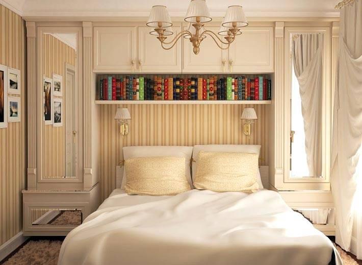 бежевый интерьер спальни со встроенной стенкой фото