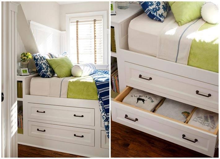 ящики в подиуме под кроватью в спальне фото