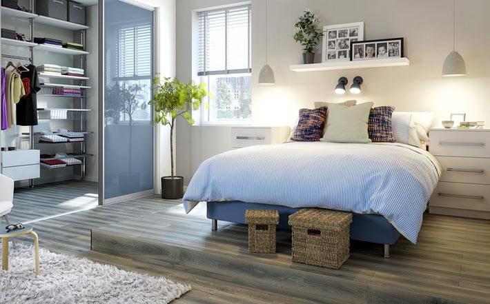 гардеробная зона в интерьере спальни фото