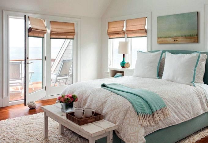 Холодные пастельные оттенки в интерьере спальни