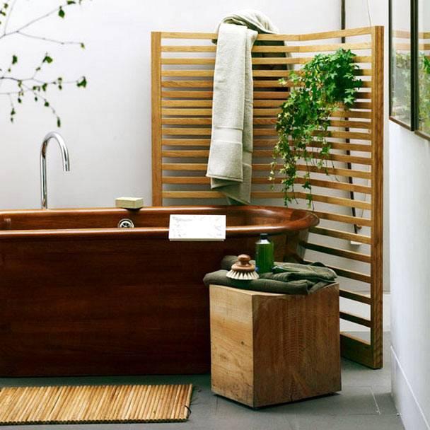 Красивая и натуральная ванна из дерева фото