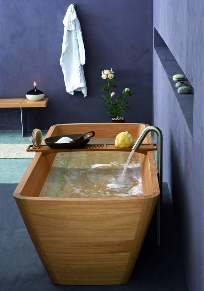 Деревянная ванна в интерьере - прикосновение природы