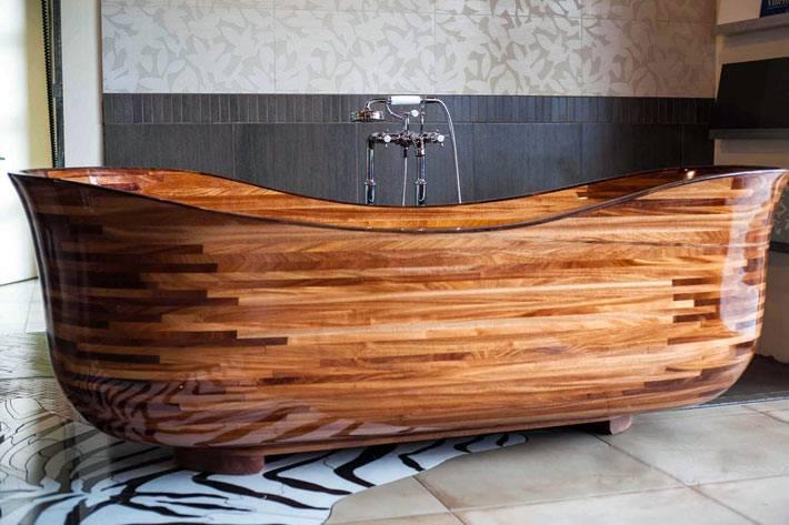 ванна, сделанная из дерева фото
