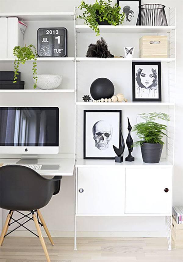 монохромный черно-белый дизайн открытой этажерки