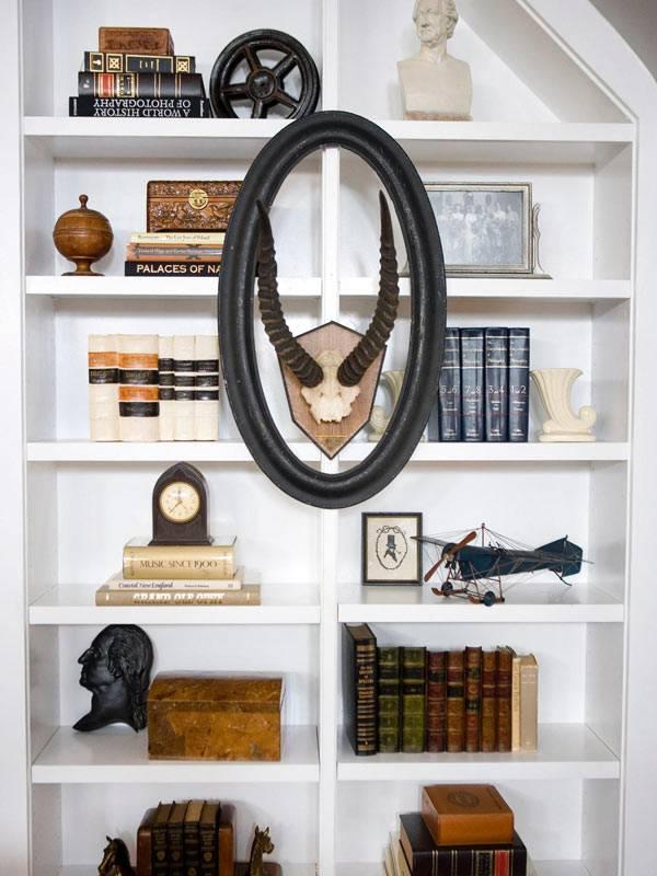 стильный дизайн полок для книг с бюстом и рогами