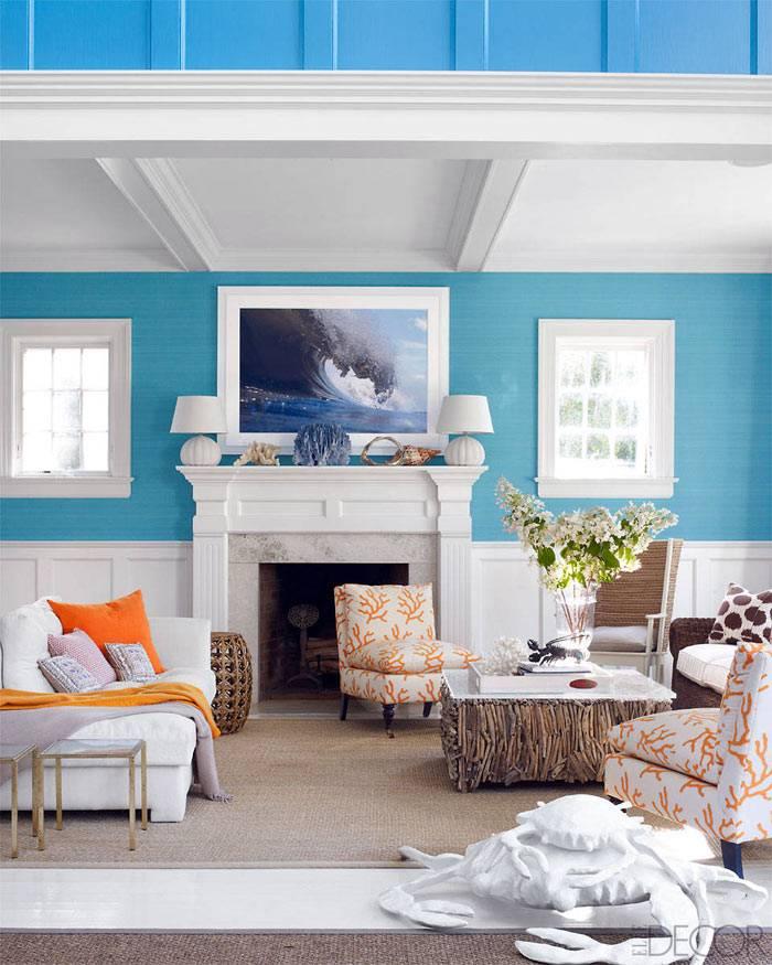 Голубые стены в интерьере комнаты фото