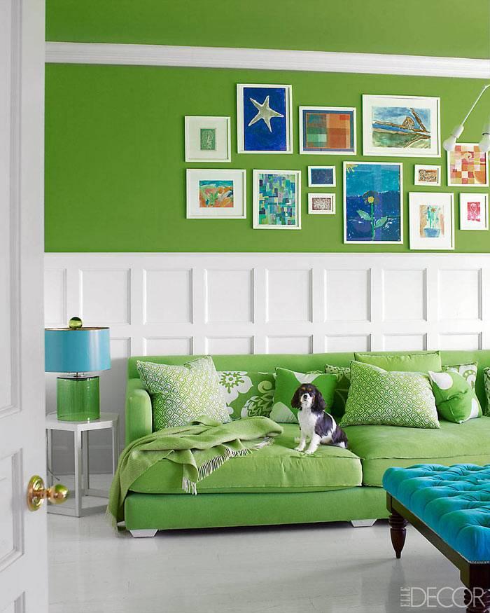 Зеленый цвет в интерьере комнаты в доме в Хэмптоне