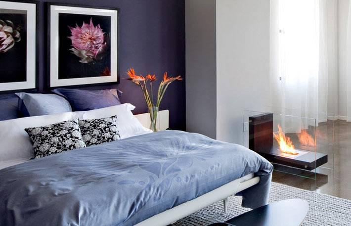 Электрокамин в интерьере спальни фото